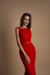 Evening Dresses 1623 Silhouette  Fitted  Color  Blue  Peach  Red  Neckline  Bateau (Boat Neck)  Sleeves  Wide straps  Train  With train - foto 3
