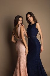 Evening Dresses 1623 Silhouette  Fitted  Color  Blue  Peach  Red  Neckline  Bateau (Boat Neck)  Sleeves  Wide straps  Train  With train - foto 5