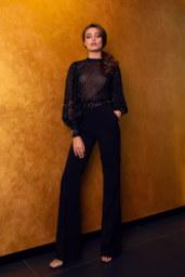 Abendkleider 1548 Silhouette  Gerade Silhouette  Farbe  Black   Ausschnitt  Bato (Boot)  Ärmel  lange Ärmel  Bischof  Schweif  Ohne Schleppe - foto 3
