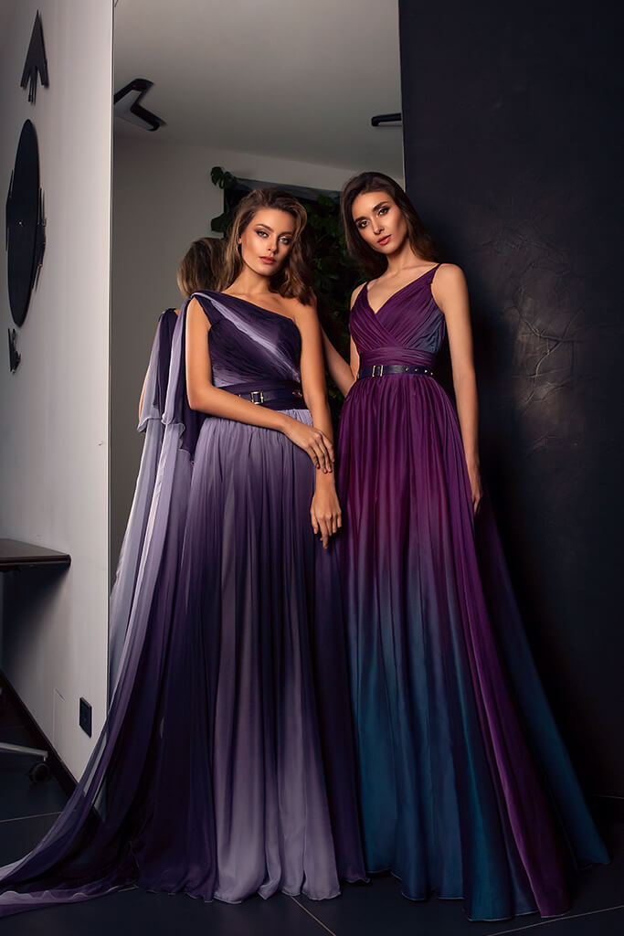Evening Dresses 1479  1528 Silhouette  A Line  Color  Eggplant  Violet  Neckline  Portrait (V-neck)  Sleeves  Spaghetti Straps  One Shoulder  Train  With train - foto 2