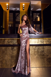 Evening Dresses 1480 Silhouette  Sheath  Color  Cappuccino  Sleeves  One Shoulder  Long Sleeves - foto 2