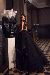 Вечірні сукні 1486 Силует  А-Силует  Колір  Чорний  Виріз  Американка  Рукави  Широкі бретелі - Фото 3