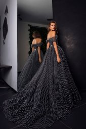 Evening Dresses 1542 Silhouette  A Line  Color  Black  Neckline  Sweetheart  Sleeves  Wide straps  Off the Shoulder Sleeves - foto 3