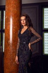Abendkleider 1487 Silhouette  Tailliertes Kleid  Farbe  Black   Ausschnitt  Porträt (V-Ausschnitt)  Ärmel  lange Ärmel  talliert - foto 2