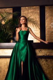 Evening Dresses 1607 Silhouette  A Line  Color  Blue  Green  Neckline  Straight  Sleeves  Wide straps - foto 2