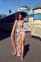 Abendkleider 1484 Silhouette  Gerade Silhouette  Farbe  Pfirsichgelb  Rosa  Ärmel  eine Schulter - foto 2