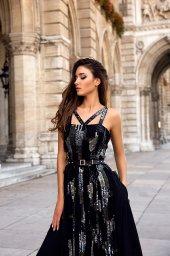 Вечерние Платья 1525 Цвет  Black  Вырез  Прямой  Рукава  Широкие бретельки - Фото 2