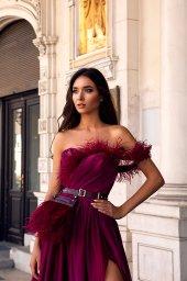 Evening Dresses 1482 Silhouette  A Line  Color  Violet  Pink  Sleeves  One Shoulder  Off the Shoulder Sleeves - foto 2