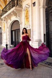 Evening Dresses 1482 Silhouette  A Line  Color  Violet  Pink  Sleeves  One Shoulder  Off the Shoulder Sleeves - foto 3
