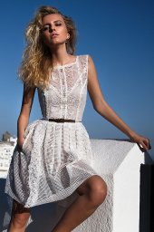 KY Atelier 1128 Collection  Santorini  Silhouette  Mini  Color  Ivory  Neckline  Bateau (Boat Neck)  Sleeves  Wide straps - foto 2