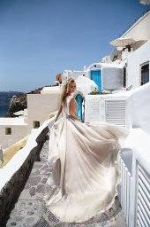 KY Atelier 1142 Collection  Santorini  Silhouette  A Line  Color  Ivory  Neckline  Bateau (Boat Neck)  Sleeves  Wide straps - foto 2