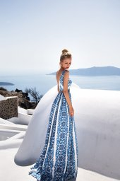 KY Atelier 1151 Collection  Santorini  Silhouette  A Line  Color  Ivory  Blue  Neckline  Straight  Sleeves  Wide straps - foto 3