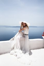KY Atelier 1141 Collection  Santorini  Silhouette  A Line  Color  Ivory  Neckline  Bateau (Boat Neck)  Sleeves  Wide straps - foto 2