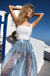 KY Atelier 1158 Collection  Santorini  Silhouette  A Line  Color  Ivory  Blue  Neckline  Straight  Sleeves  Wide straps - foto 2