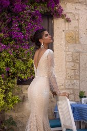 Wedding dresses Asteria Collection  Highlighted Glamour  Silhouette  Fitted  Color  Silver  Ivory  Neckline  Scoop  Portrait (V-neck)  Sleeves  Long Sleeves  Fitted  Train  With train - foto 4