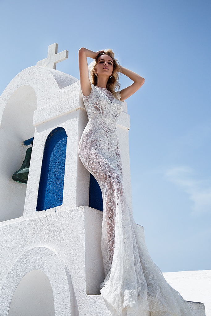 KY Atelier 1118 Collection  Santorini  Silhouette  Fitted  Color  Ivory  Neckline  Bateau (Boat Neck)  Sleeves  Petal - foto 2