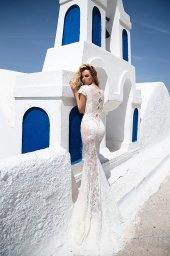 KY Atelier 1118 Collection  Santorini  Silhouette  Fitted  Color  Ivory  Neckline  Bateau (Boat Neck)  Sleeves  Petal - foto 3