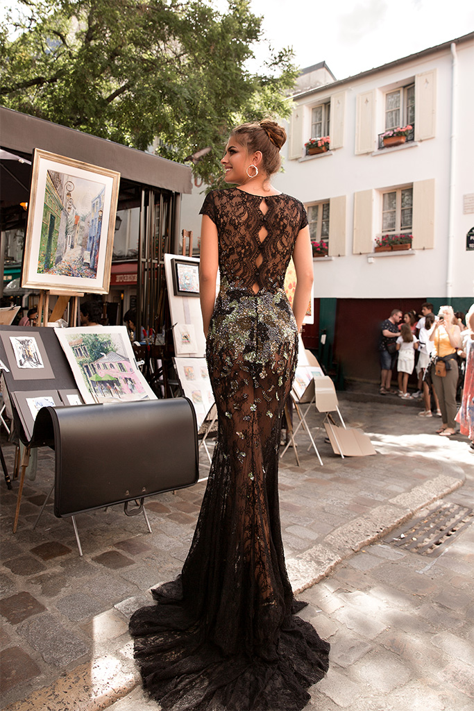 Evening Dresses 1726 Silhouette  Fitted  Color  Multi  Black  Neckline  Scoop  Sleeves  T-Shirt  Train  No train - foto 4