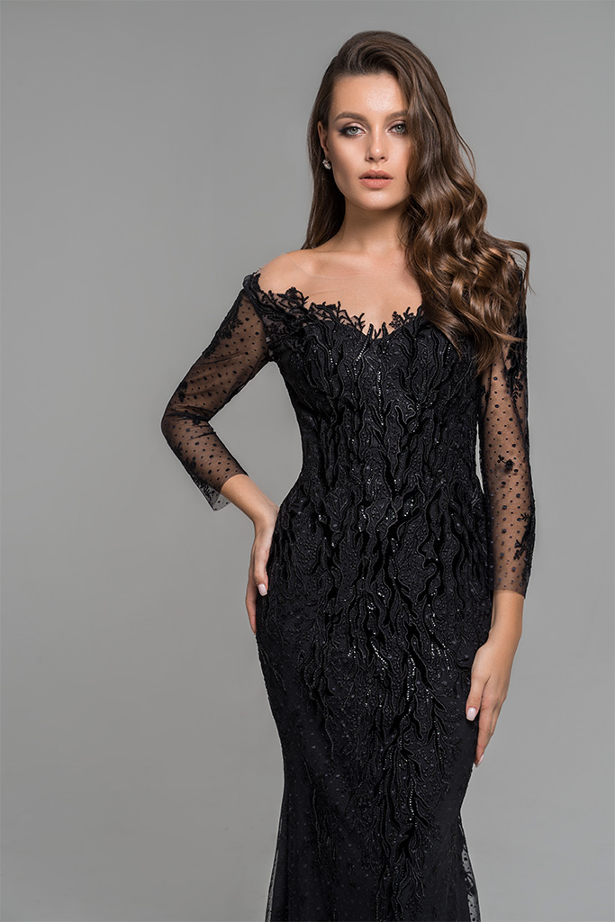 Evening Dresses 1783 Silhouette  Fitted  Color  Black  Neckline  Portrait (V-neck)  Sleeves  Set In  Long Sleeves  Train  No train - foto 3