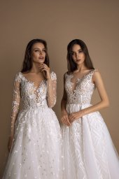 Wedding dresses Indila Collection  New Look  Silhouette  A Line  Color  Ivory  Neckline  Portrait (V-neck)  Illusion  Sleeves  Long Sleeves  Fitted  Train  With train - foto 3
