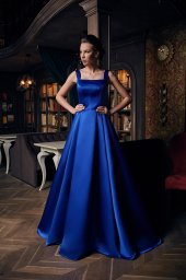 Evening gowns 1231 blue Silhouette  A Line  Color  Blue  Red  Neckline  Straight  Sleeves  Wide straps  Train  With train - foto 2