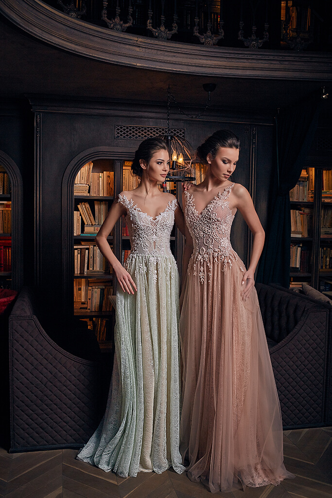 Evening gowns 1239 Silhouette  A Line  Color  Nude  Green  Neckline  Sweetheart  Sleeves  Wide straps  Off the Shoulder Sleeves  Train  With train - foto 4