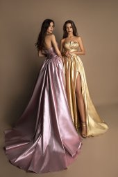 Evening gowns 1610 golden Silhouette  A Line  Color  Pink  Gold  Neckline  Straight  Sleeves  Sleeveless  Train  No train - foto 2