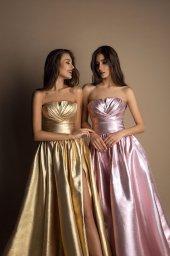 SUKIENKI WIECZOROWE 1610 golden Sylwetka  Balowa suknia   Kolor  Różowy  Złoty  Dekolt  Prosty  Rękawy  Bez rękawów  Flex  Bez trenu - foto 3