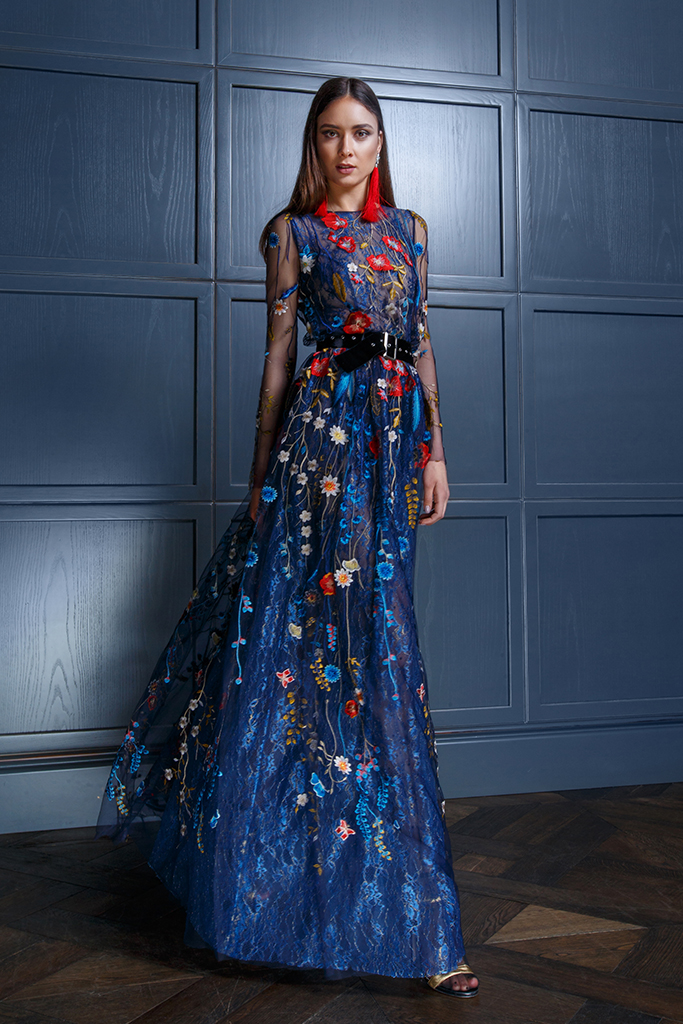 Evening gowns S-1349-1 Silhouette  A Line  Color  Multi  Blue  Neckline  Bateau (Boat Neck)  Sleeves  Long Sleeves  Fitted  Train  No train - foto 2