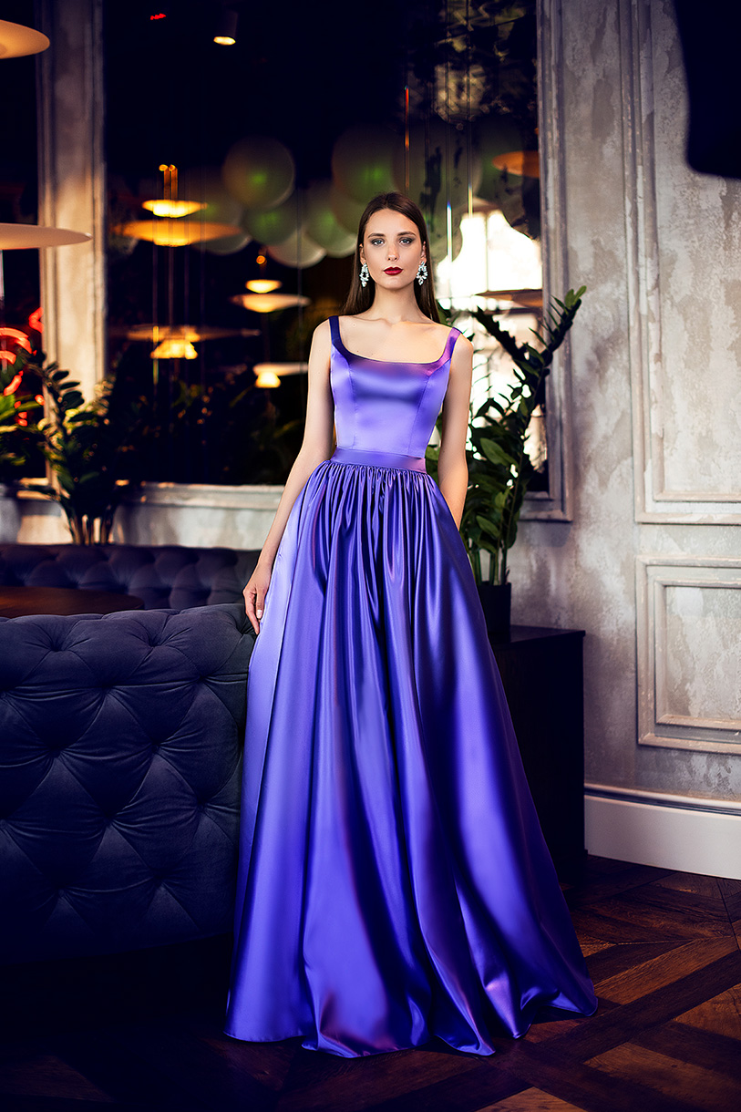 Evening gowns S-1421 Silhouette  A Line  Color  Violet  Neckline  Straight  Sleeves  Wide straps  Train  No train - foto 2