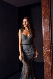 Evening gowns S-1477 Silhouette  Mermaid  Color  Grey  Neckline  Sweetheart  Sleeves  Wide straps  Train  With train - foto 2