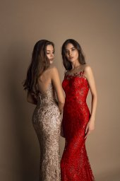 Evening gowns S-1603 cappuccino Silhouette  Fitted  Color  Cappuccino  Red  Neckline  Sweetheart  Illusion  Sleeves  Sleeveless  Train  No train - foto 3