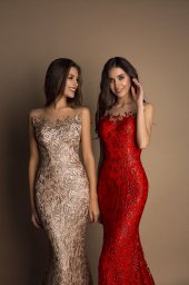 Evening gowns S-1603 cappuccino Silhouette  Fitted  Color  Cappuccino  Red  Neckline  Sweetheart  Illusion  Sleeves  Sleeveless  Train  No train - foto 2