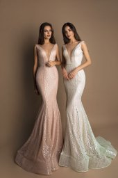 Evening gowns S-1608 blush Silhouette  Fitted  A Line  Color  Blush  Neckline  Portrait (V-neck)  Sleeves  Wide straps  Train  Detachable train - foto 3
