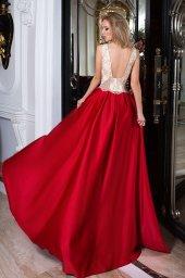 SUKIENKI WIECZOROWE 1046 Sylwetka  Balowa suknia   Kolor  Złoty  Red  Dekolt  Dekolt w łódkę  Rękawy  Szerokie ramiączka  Flex  Bez trenu - foto 2