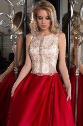 SUKIENKI WIECZOROWE 1046 Sylwetka  Balowa suknia   Kolor  Złoty  Red  Dekolt  Dekolt w łódkę  Rękawy  Szerokie ramiączka  Flex  Bez trenu - foto 3