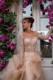 Wedding dresses Jill Collection  Highlighted Glamour  Silhouette  Fitted  Color  Silver  Cappuccino  Neckline  Sweetheart  Sleeves  Long Sleeves  Fitted  Train  Detachable train - foto 5