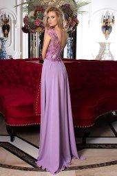 SUKIENKI WIECZOROWE 984 Sylwetka  Prosta suknia   Kolor  Fioletowy  Dekolt  Dekolt w łódkę  Rękawy  Szerokie ramiączka  Flex  Bez trenu - foto 2