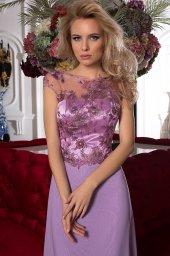 SUKIENKI WIECZOROWE 984 Sylwetka  Prosta suknia   Kolor  Fioletowy  Dekolt  Dekolt w łódkę  Rękawy  Szerokie ramiączka  Flex  Bez trenu - foto 3