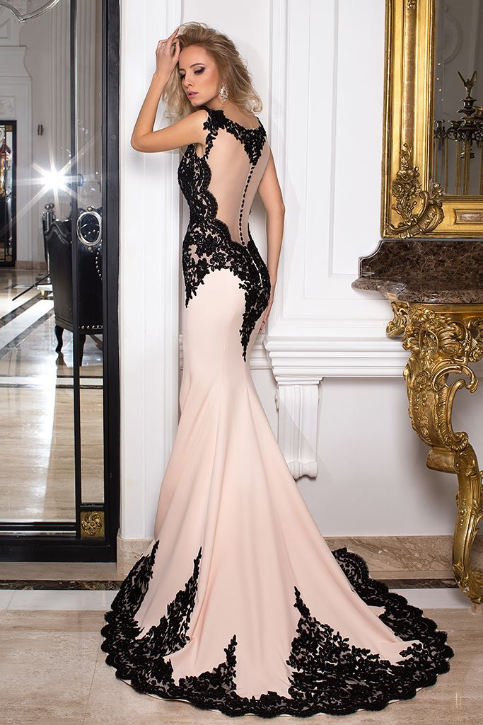 Evening Dresses 1029 Silhouette  Fitted  Color  Pink  Black  Neckline  Illusion  Bateau (Boat Neck)  Sleeves  Wide straps  Train  With train - foto 4