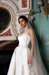 Wedding dresses Demetra Collection  Luxurious Spirit  Silhouette  A Line  Color  Ivory  Neckline  Straight  Sleeves  Wide straps  Train  With train - foto 2