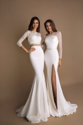 Wedding dresses Loren-1 Collection  New Look  Silhouette  Mermaid  Color  Ivory  Neckline  Sweetheart  Jewel  Sleeves  Long Sleeves  Fitted  Train  With train - foto 4