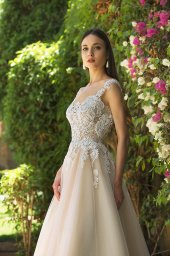 Wedding dresses Myrcella Collection  Fresh Touch  Silhouette  A Line  Color  Cappuccino  Ivory  Neckline  Illusion  Sleeves  Wide straps  Train  With train - foto 2