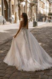 Wedding dresses Zoe Collection  City Passion  Silhouette  A Line  Color  Blush  Ivory  Neckline  Portrait (V-neck)  Sleeves  Spaghetti Straps  Train  With train - foto 2