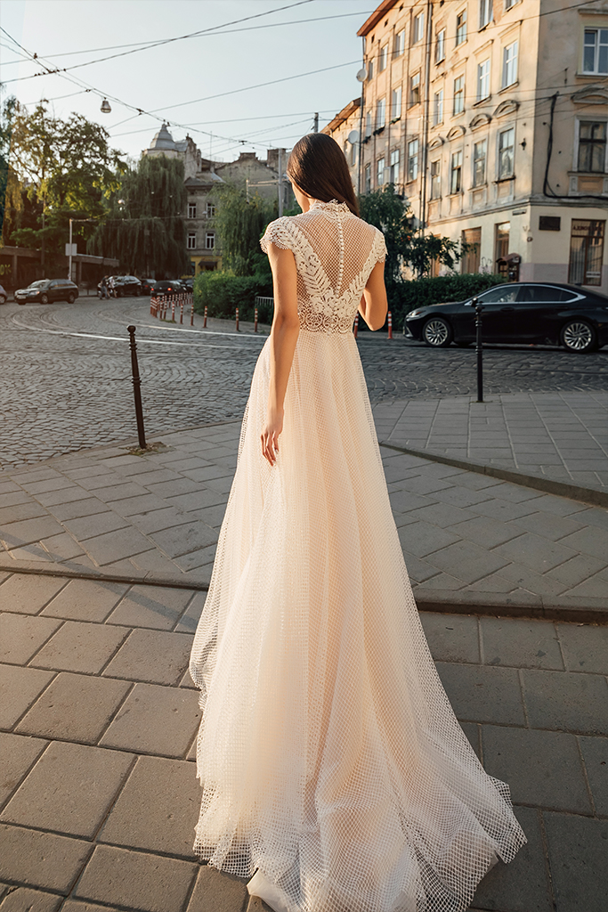 Wedding dresses Camelia Collection  City Passion  Silhouette  A Line  Color  Blush  Ivory  Neckline  Mandarin  Sleeves  Petal  Train  With train - foto 2