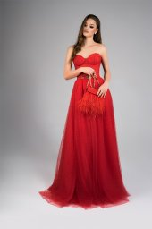 Evening Dresses 1817 Silhouette  A Line  Color  Red  Neckline  Sweetheart  Sleeves  Sleeveless  Train  No train - foto 2