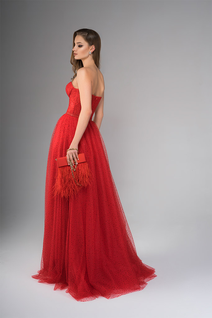 Evening Dresses 1817 Silhouette  A Line  Color  Red  Neckline  Sweetheart  Sleeves  Sleeveless  Train  No train - foto 3