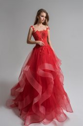 Evening Dresses 1656 Silhouette  A Line  Color  Red  Neckline  Straight  Sleeves  Wide straps  Train  No train - foto 2