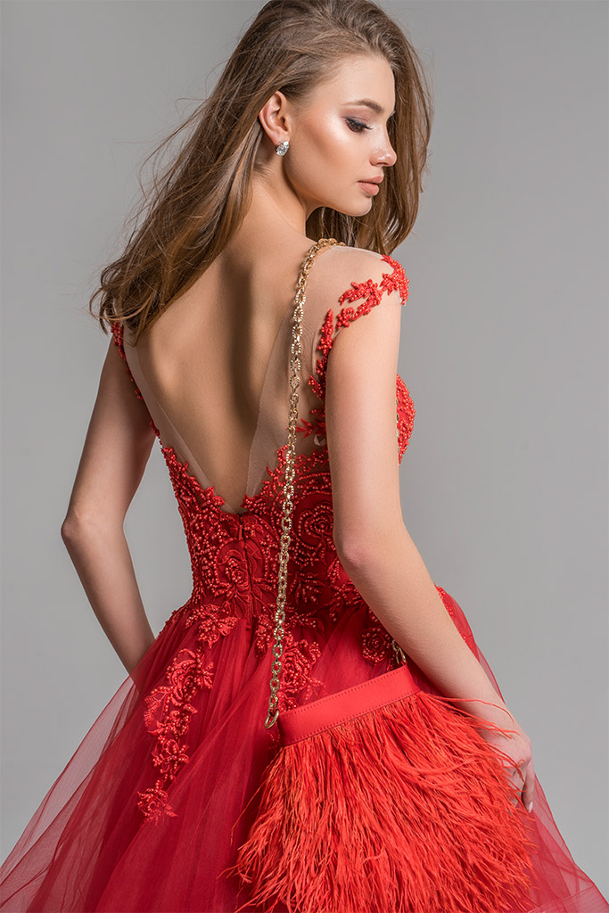 Evening Dresses 1656 Silhouette  A Line  Color  Red  Neckline  Straight  Sleeves  Wide straps  Train  No train - foto 4