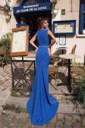 Evening Dresses 934 Silhouette  Sheath  Color  Blue  Neckline  Portrait (V-neck)  Sleeves  Wide straps  Train  No train - foto 3